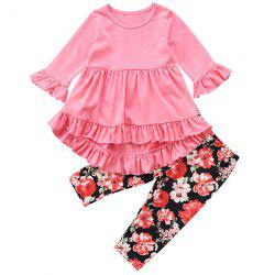 FT1208 Top + Floral Print Pants Girl's Clothing Set -
