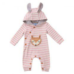 TZY20996 Baby Girl Boutique Striped Fox Embroidery Romper -