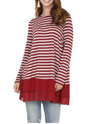 Striped-paneled Chiffon Long Sleeve Casual T-shirt -