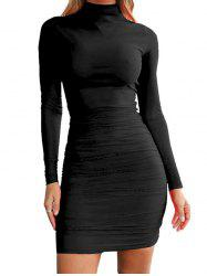 FC429 Turtleneck Skinny Sexy Solid Color Women's Dress -