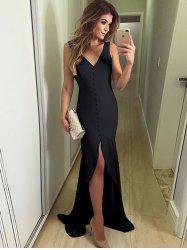 Solid Color Button V-neck Slits Irregular Fishtail Elegant Evening Dress -