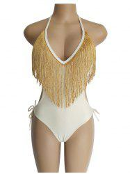 Europe America Deep V Tassel Waist Sexy Ladies One-piece Swimsuit -