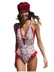 Chest Strap Small Shredded Pleated Lady Swimsuit -