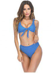 Blue Dot Printed Chest Bow High Waist Split Swimsuit -
