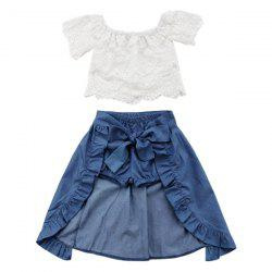 FT1323 Sweet Lace Three-piece Girl's Clothing Set -