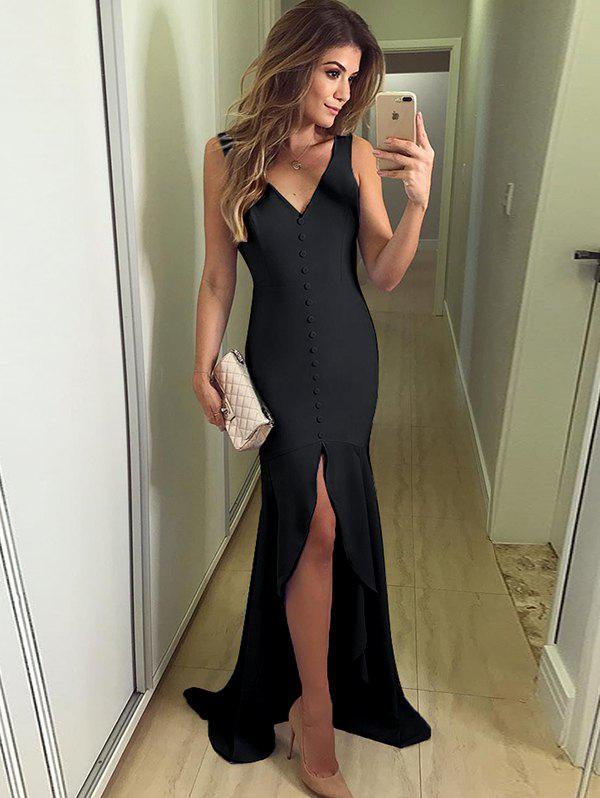 Outfits Solid Color Button V-neck Slits Irregular Fishtail Elegant Evening Dress