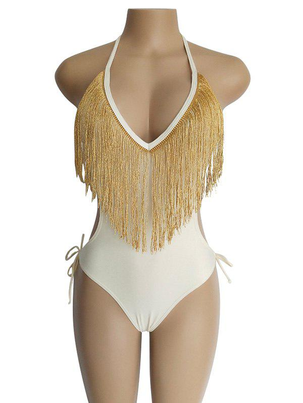 Shop Europe America Deep V Tassel Waist Sexy Ladies One-piece Swimsuit