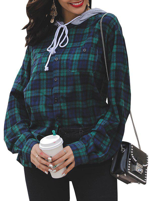 Affordable Spring Women's Contrast Plaid Chest Pocket Top Personality Hooded Drawstring Shirt Sweatshirt
