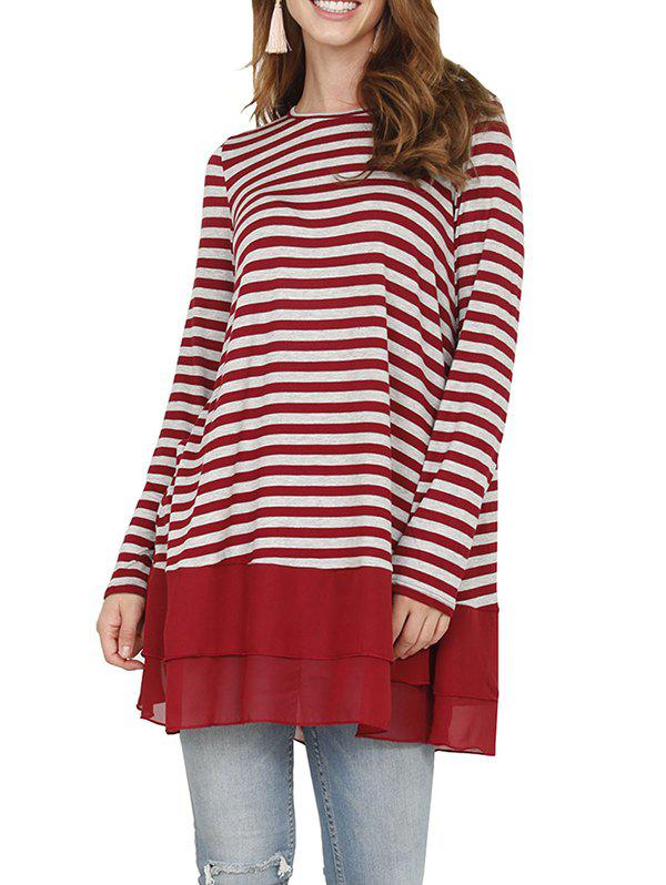 Store Striped-paneled Chiffon Long Sleeve Casual T-shirt