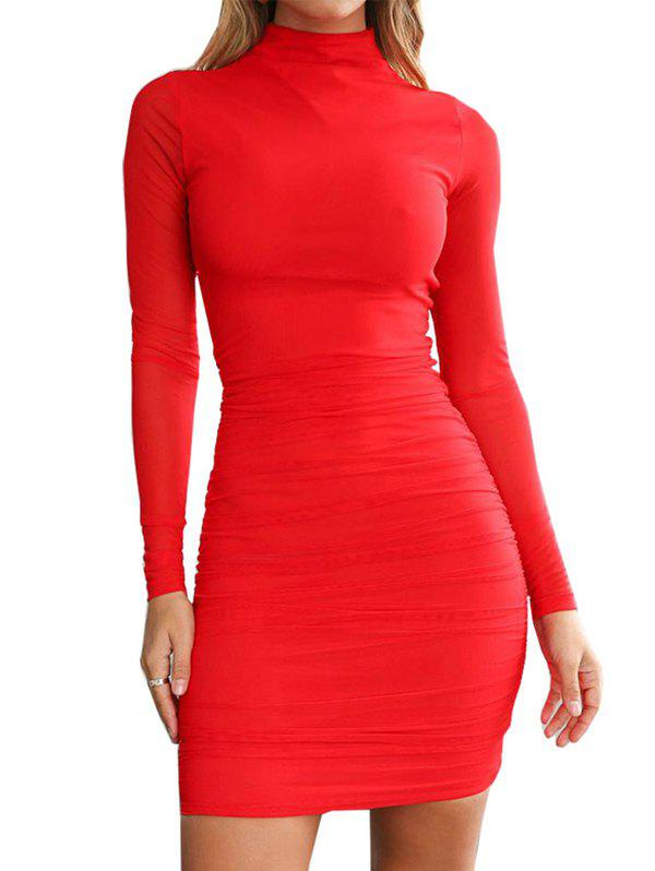 New FC429 Turtleneck Skinny Sexy Solid Color Women's Dress