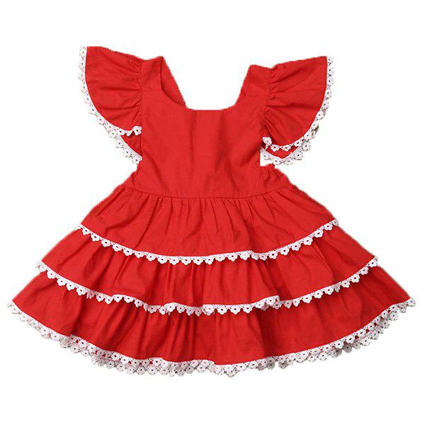 Trendy FT1719 Sweet Lace Small Flying Sleeve Girl's Dress