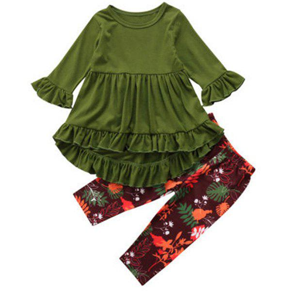 Trendy FT1208 Top + Floral Print Pants Girl's Clothing Set