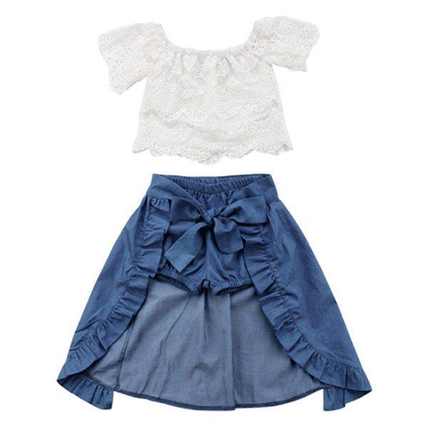 Trendy FT1323 Sweet Lace Three-piece Girl's Clothing Set