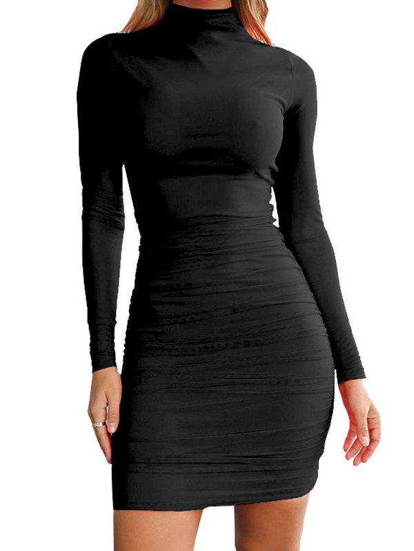 Latest FC429 Turtleneck Skinny Sexy Solid Color Women's Dress