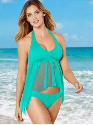 Women Solid Color Hanging Neck Split Swimsuit -