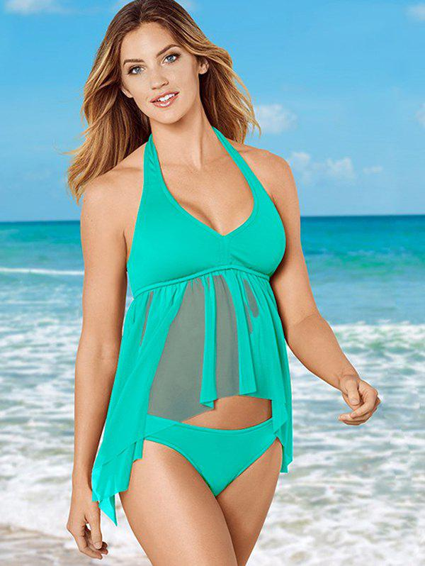 Chic Women Solid Color Hanging Neck Split Swimsuit