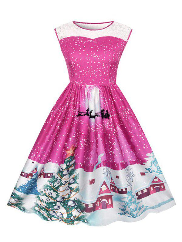 Affordable Christmas Print Lace Ladies Dress