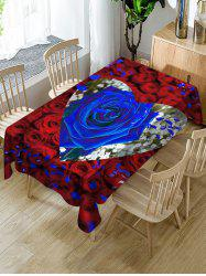 Valentines Day Rose Heart Print Fabric Waterproof Tablecloth -