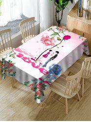 Valentines Day Flower Lover Print Fabric Waterproof Tablecloth -