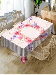 Valentines Day Flowers Print Fabric Waterproof Tablecloth -