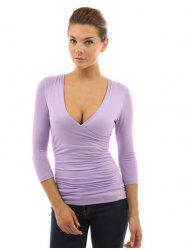 Women Fashionable Solid V-neck All-match T-shirt -