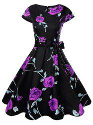 Women Fashionable Retro Rose Pattern Sexy Dress -