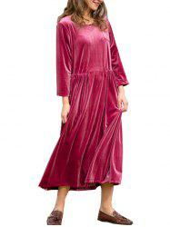 FC428 Spring Women's Gold Velvet Round Neck Long Sleeve Loose Dress -