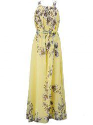 Bohemian Printed Beach Maxi Sleeveless Round Neck Halter Chiffon Dress -