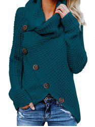 Five Buckle High Collar Pullover Solid Color Women's Sweater -