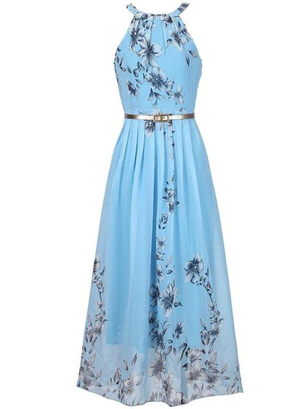 Affordable Bohemian Printed Beach Maxi Sleeveless Round Neck Halter Chiffon Dress