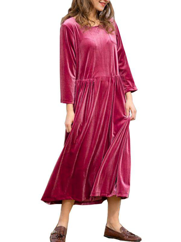 Hot FC428 Spring Women's Gold Velvet Round Neck Long Sleeve Loose Dress