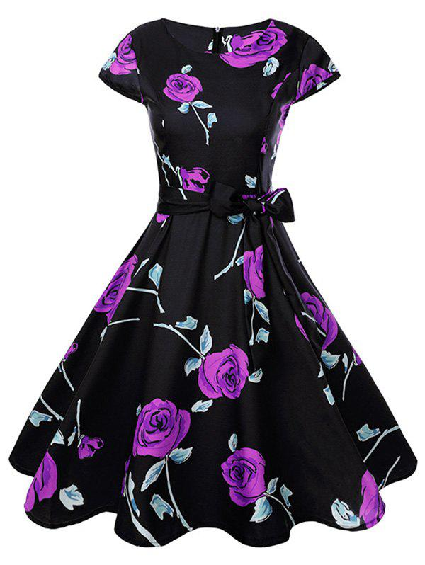 Hot Women Fashionable Retro Rose Pattern Sexy Dress