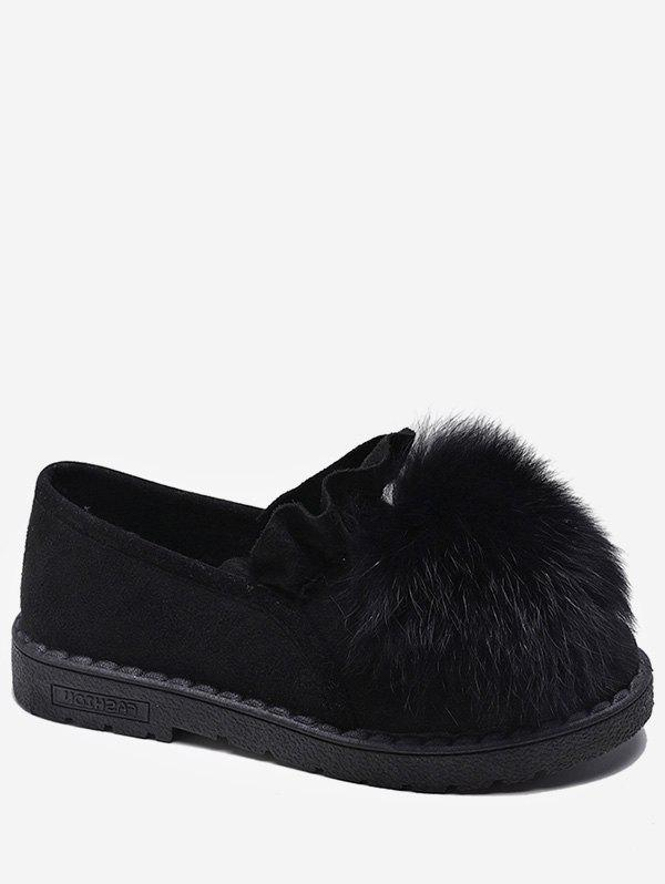Outfit Fuzzy Ball Ruffle Slip On Shoes