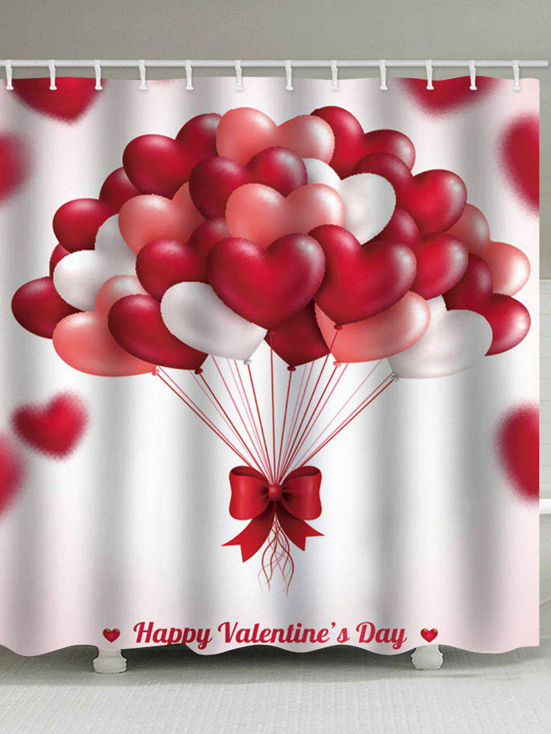 Outfits Happy Valentine Heart Balloon Print Waterproof Shower Curtain