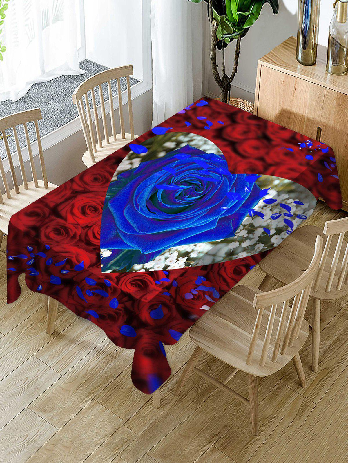 Affordable Valentines Day Rose Heart Print Fabric Waterproof Tablecloth