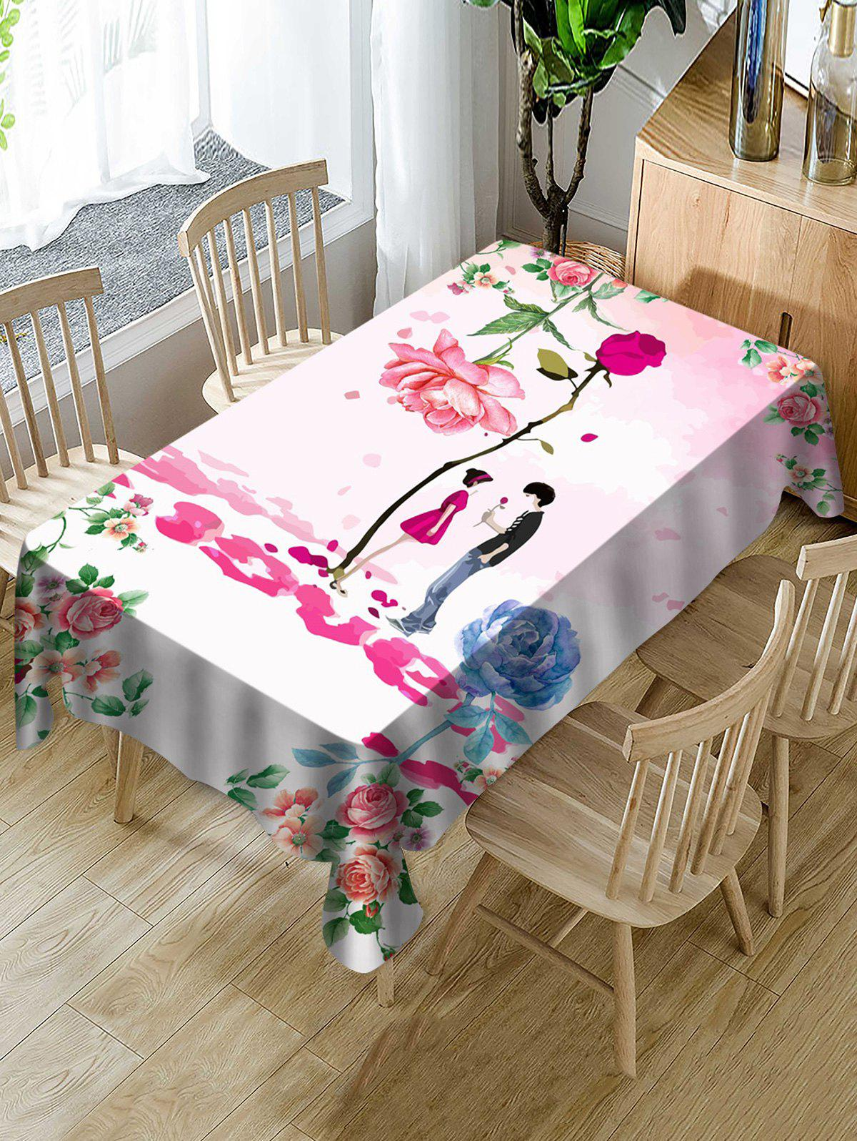 Best Valentines Day Flower Lover Print Fabric Waterproof Tablecloth