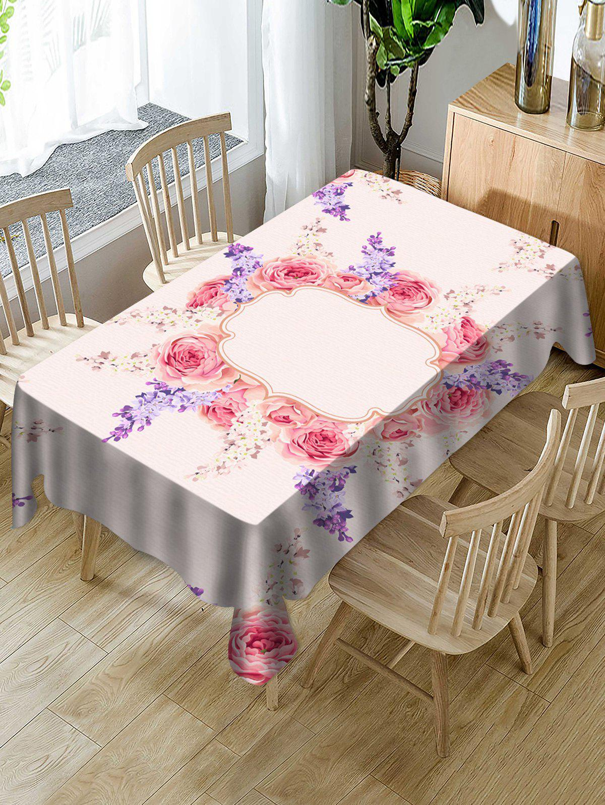 Hot Valentines Day Flowers Print Fabric Waterproof Tablecloth