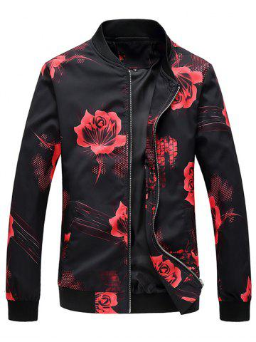 Rose Flower Print Zip Up Jacket