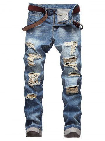 Casual Zipper Fly Ripped Straight Jeans