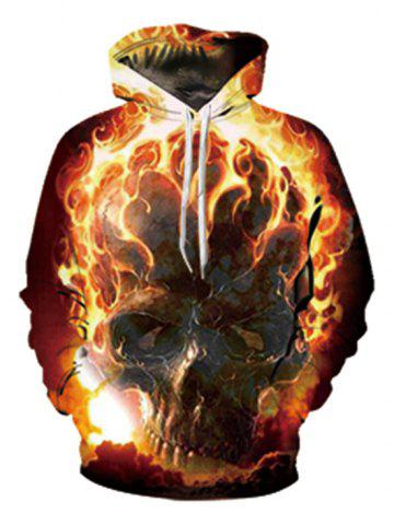 Fire Skull Print Pouch Pocket Pullover Hoodie