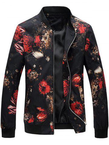 Flower Print Zipper Up Bomber Jacket