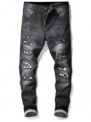 Ripped Hole Skull Patchwork Slimming Jeans -