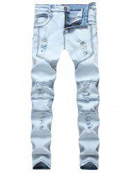Jean de Motard en Denim Collant Déchiré Jointif Extensible -