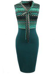 European American Fashion Sleeve Stitching Ribbon Bow Pencil Skirt Dress -