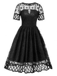 Women's Dress Short-sleeved Pleated Hollow Sexy Lace -