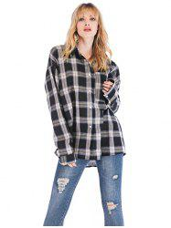 Women's Blouse Plaid Thin Loose Casual Long Sleeve -