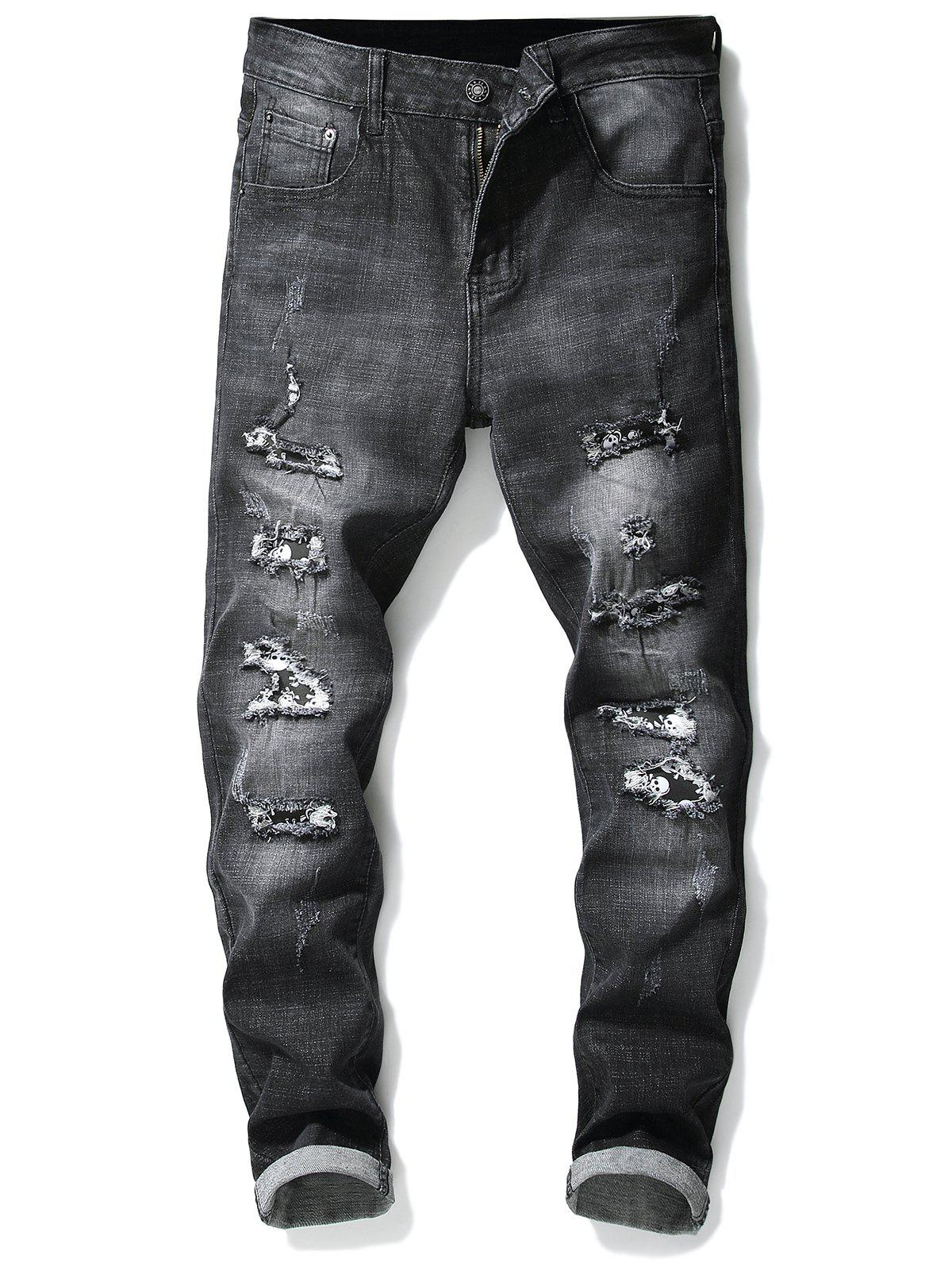 Ripped Hole Skull Patchwork Slimming Jeans