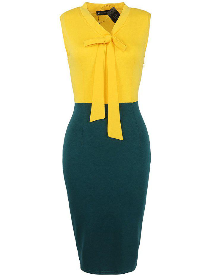 Store European American Fashion Sleeve Stitching Ribbon Bow Pencil Skirt Dress