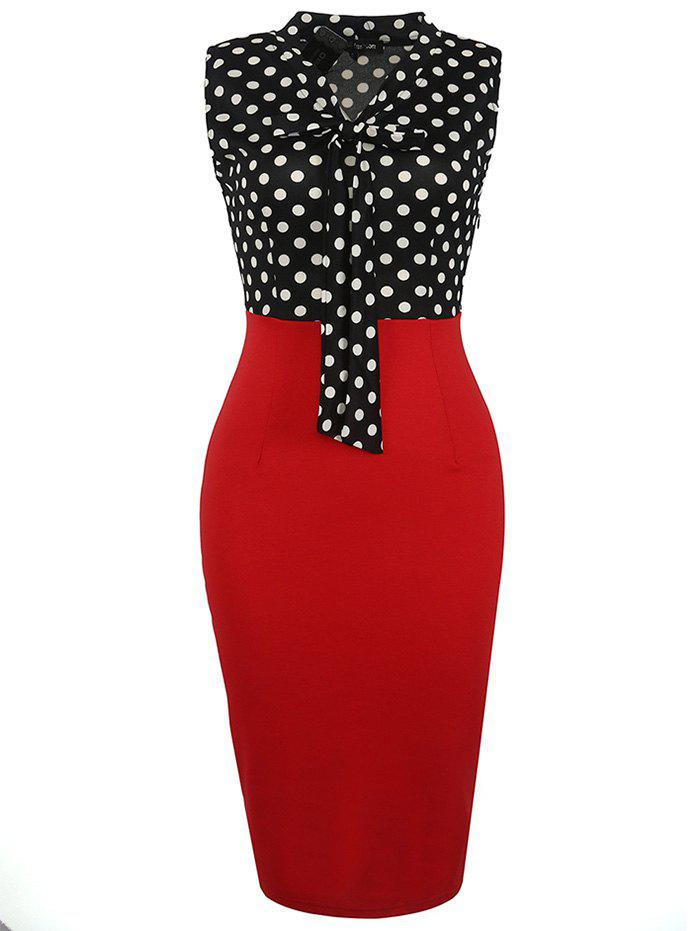 Online European American Fashion Sleeve Stitching Ribbon Bow Pencil Skirt Dress