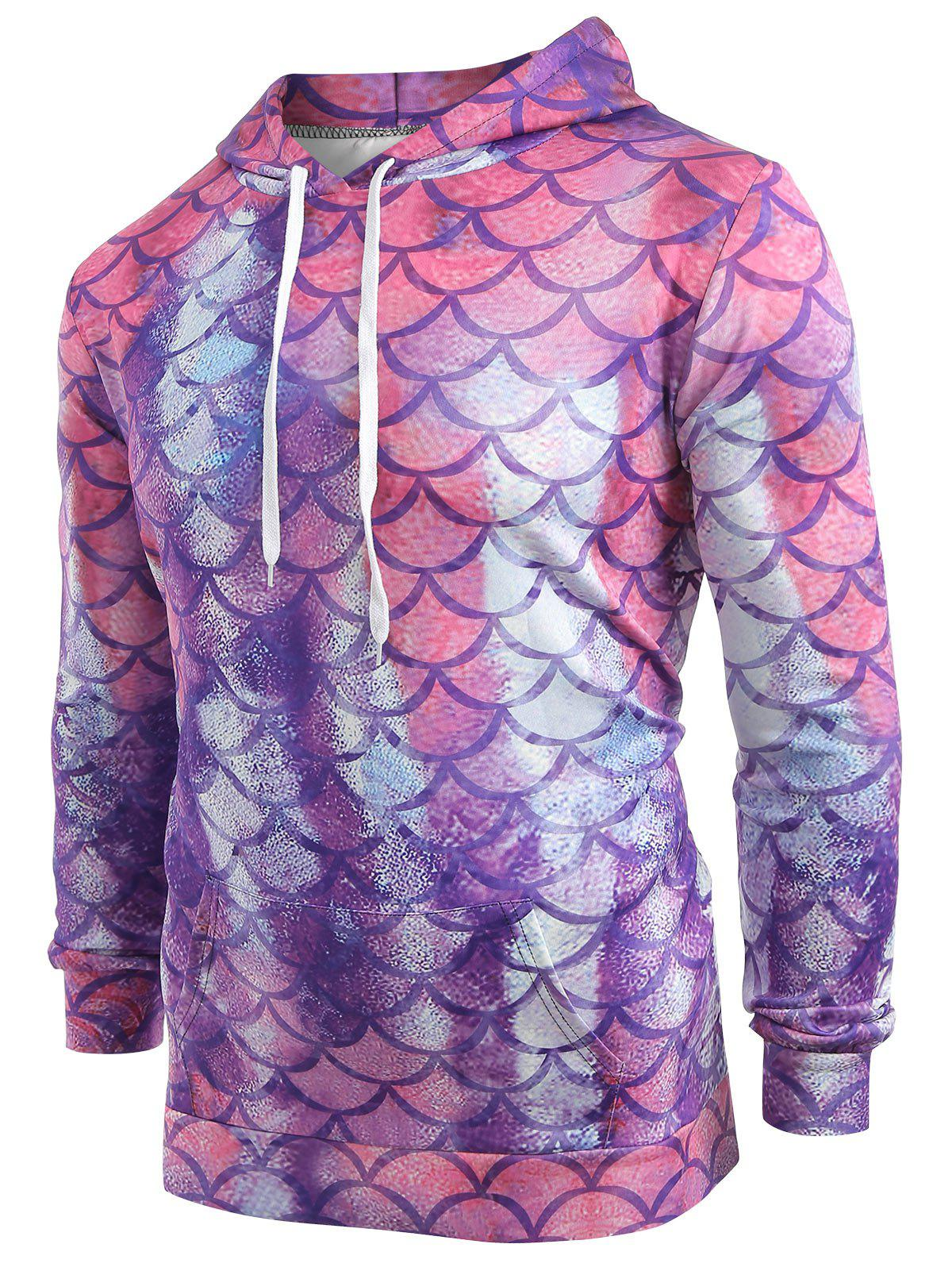 Unique Fish Scale Print Pouch Pocket Hoodie